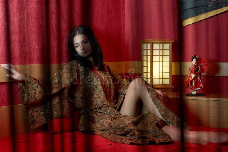Vrouw in kimono royalty-vrije stock foto