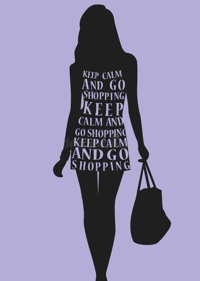 Vrouw in kleding van citaten vector illustratie