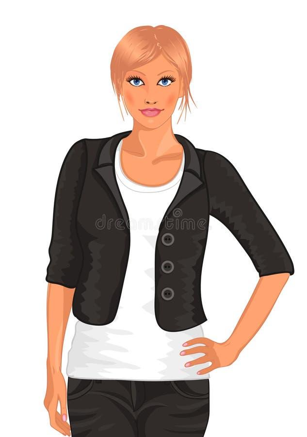 Vrouw in kostuum royalty-vrije illustratie