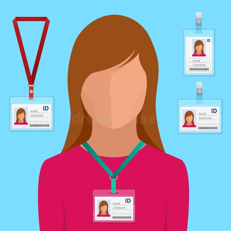 Vrouw in kostuum met de rode band en identiteitskaart-Kaarten van de Identificatie Witte Lege Plastic Identiteitskaart van kentek vector illustratie