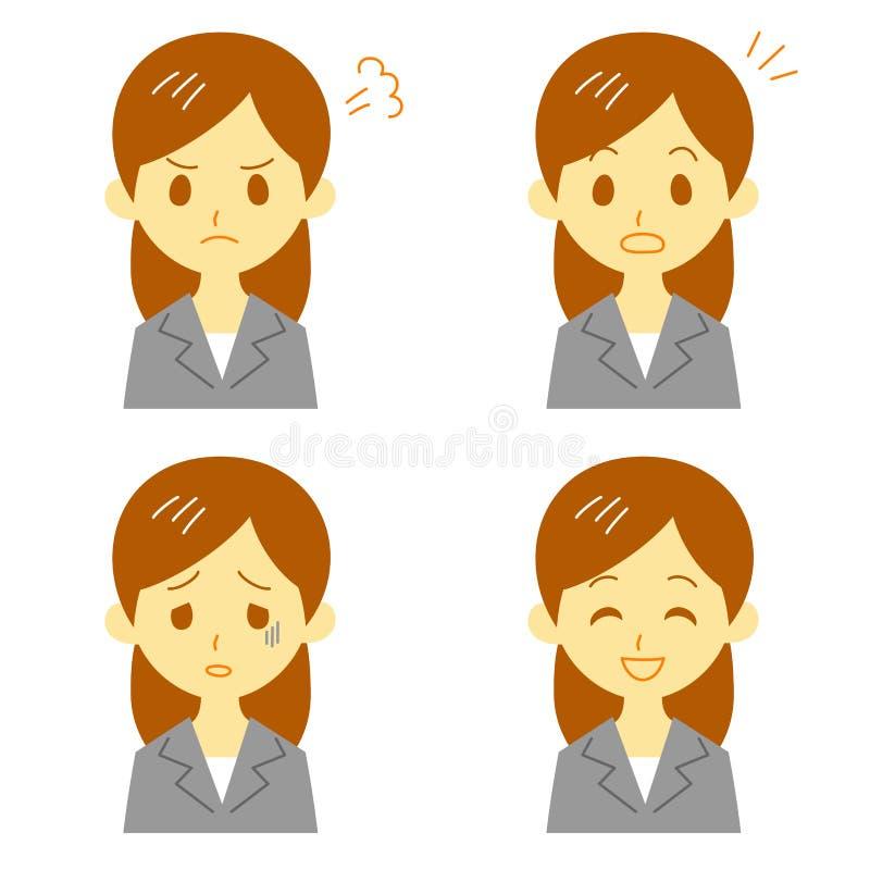 Vrouw in kostuum, uitdrukkingen vector illustratie