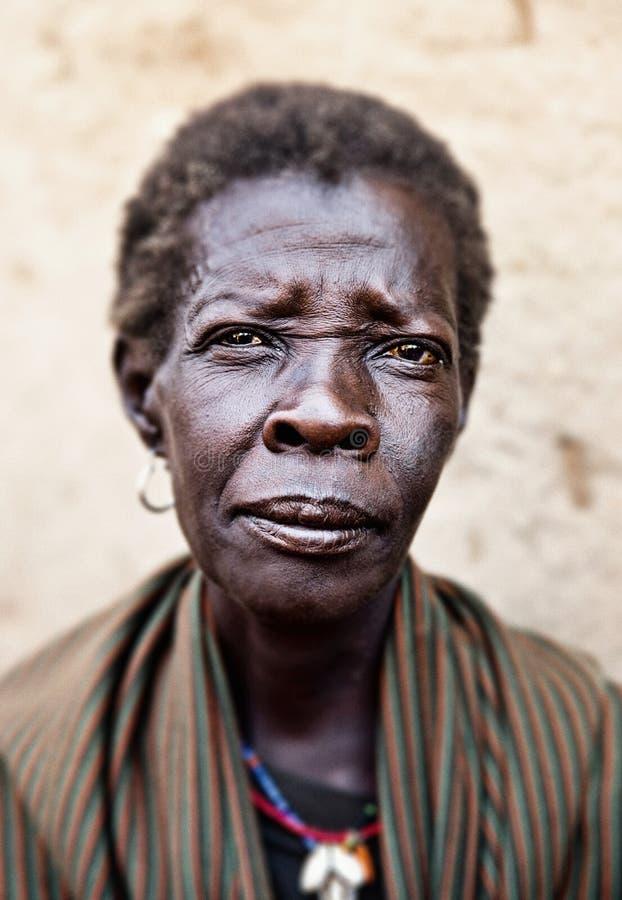 Vrouw in Kotido in Oeganda royalty-vrije stock afbeelding