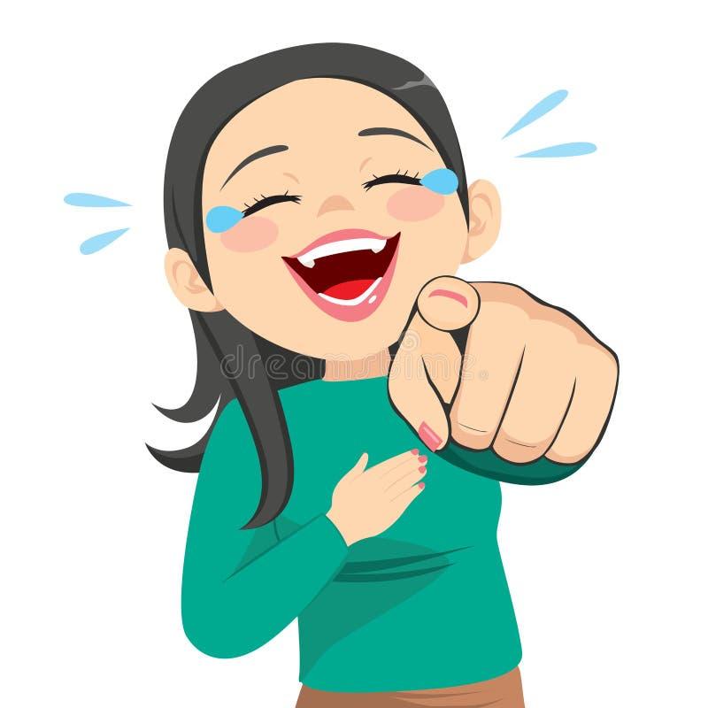 Vrouw lachen die vinger richten stock illustratie