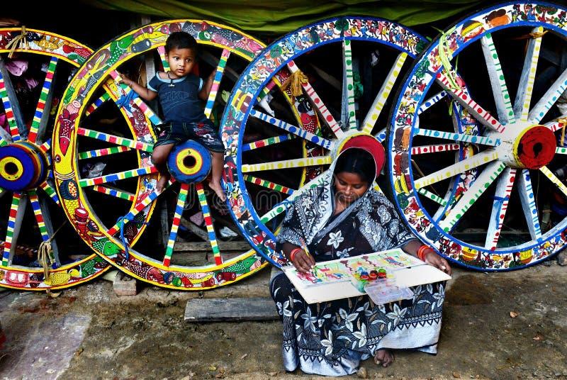 Vrouw in Landelijk India stock fotografie