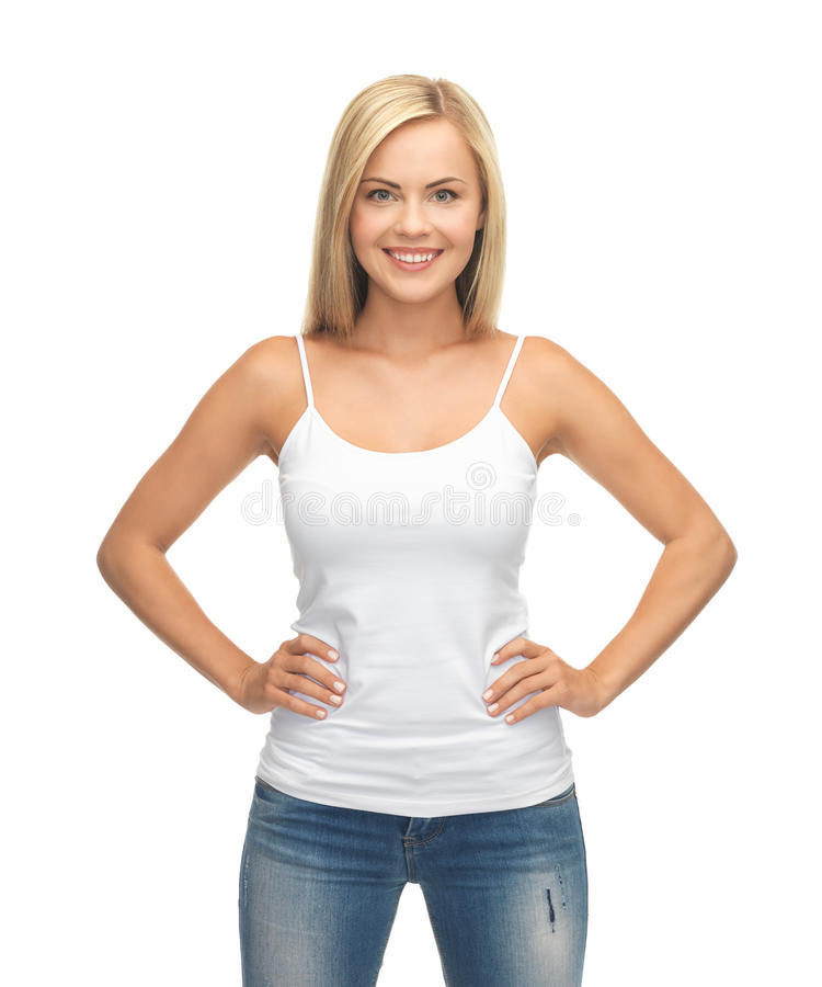 Vrouw in lege witte t-shirt royalty-vrije stock foto