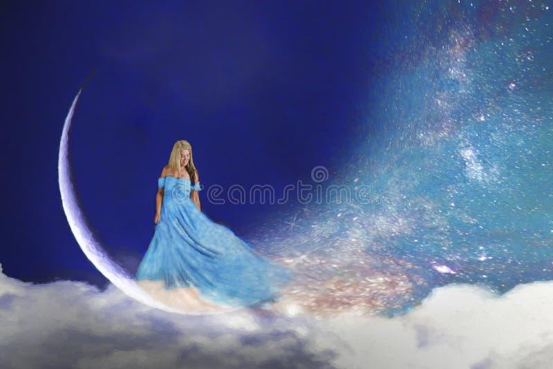 Vrouw in maan royalty-vrije stock afbeelding