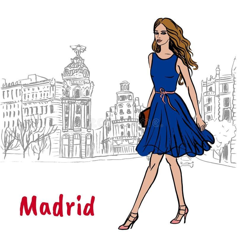 Vrouw in Madrid vector illustratie