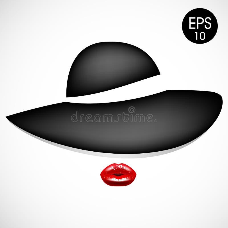 Vrouw in manier zwarte hoed met rode lippen Vector illustratie stock illustratie