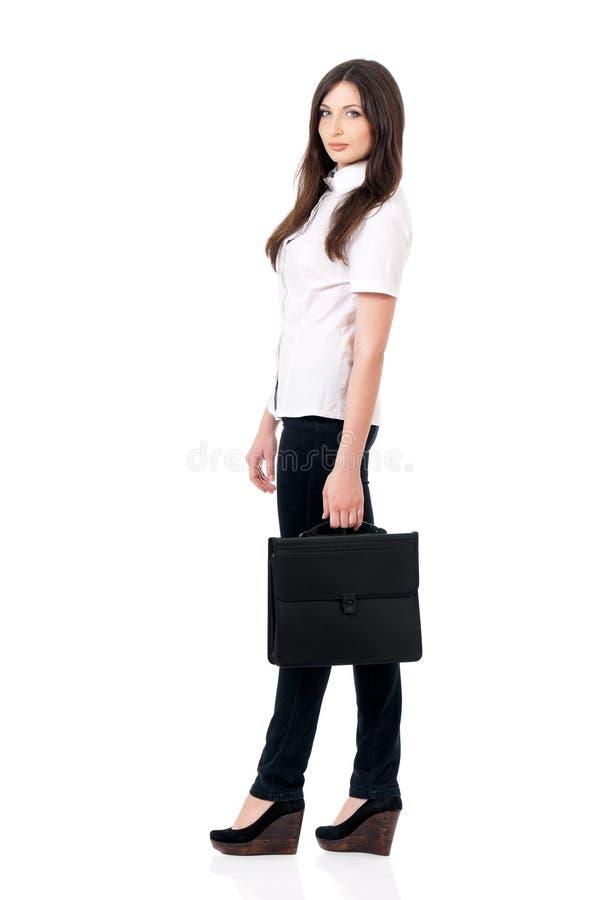 Vrouw met aktentas stock fotografie