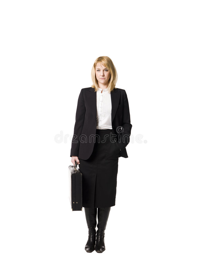 Vrouw met aktentas stock foto