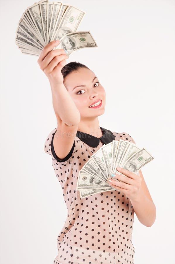 Vrouw met Amerikaanse dollars royalty-vrije stock foto's