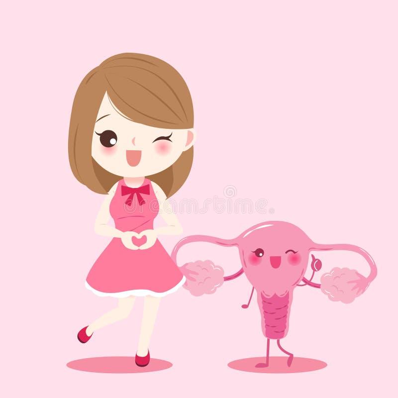 Vrouw met baarmoeder vector illustratie