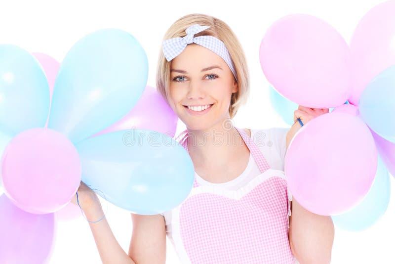 Vrouw met ballons stock foto's