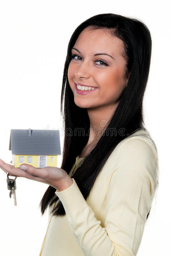 Vrouw met bezit royalty-vrije stock foto