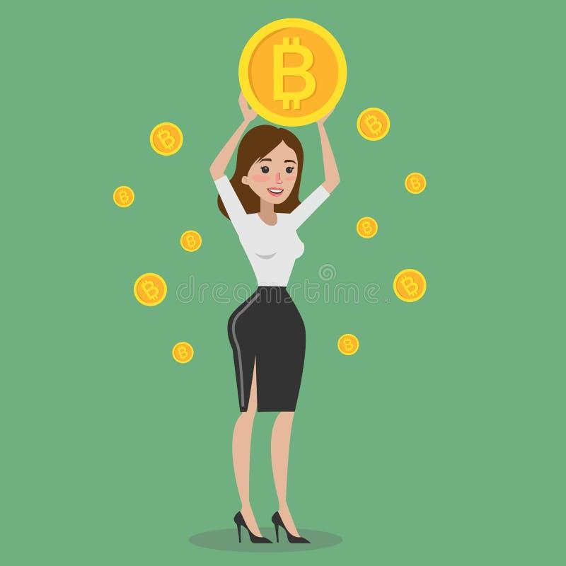 Vrouw met bitcoin vector illustratie