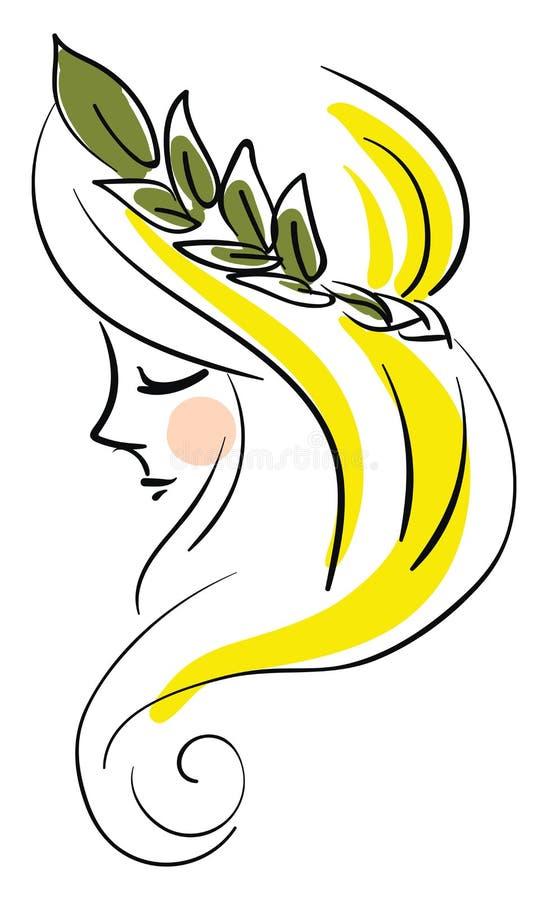 Vrouw met bladprofielillustratie basale RGB-vector vector illustratie