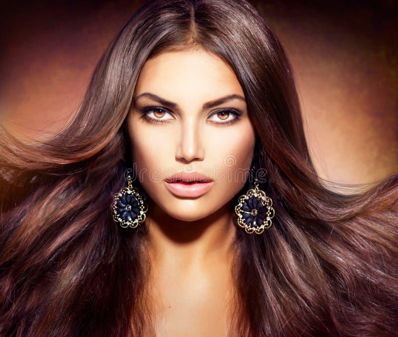 Vrouw met Blazend Haar stock afbeelding