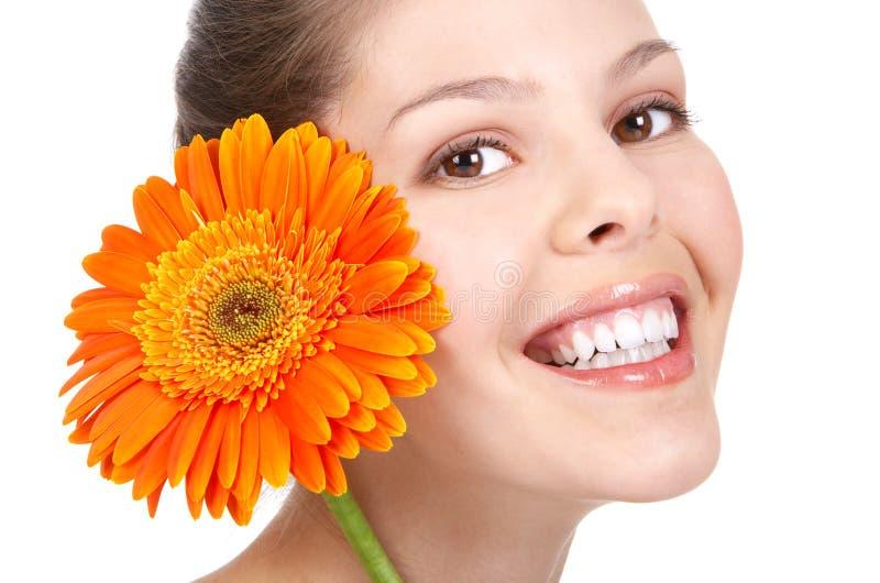 Vrouw met bloem stock foto's