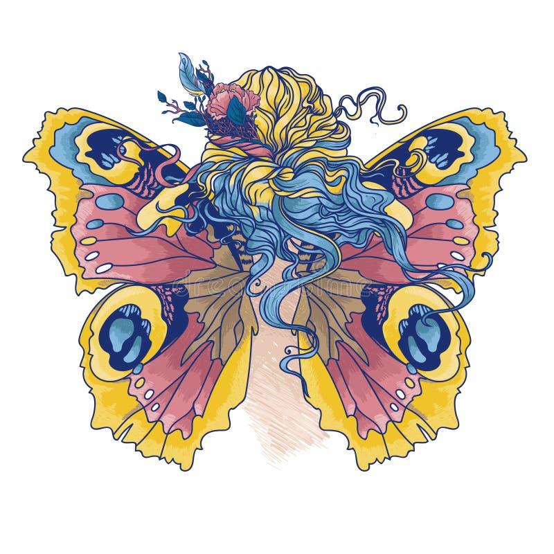 vrouw met bloemen in haar haar en vlindervleugels vector illustratie