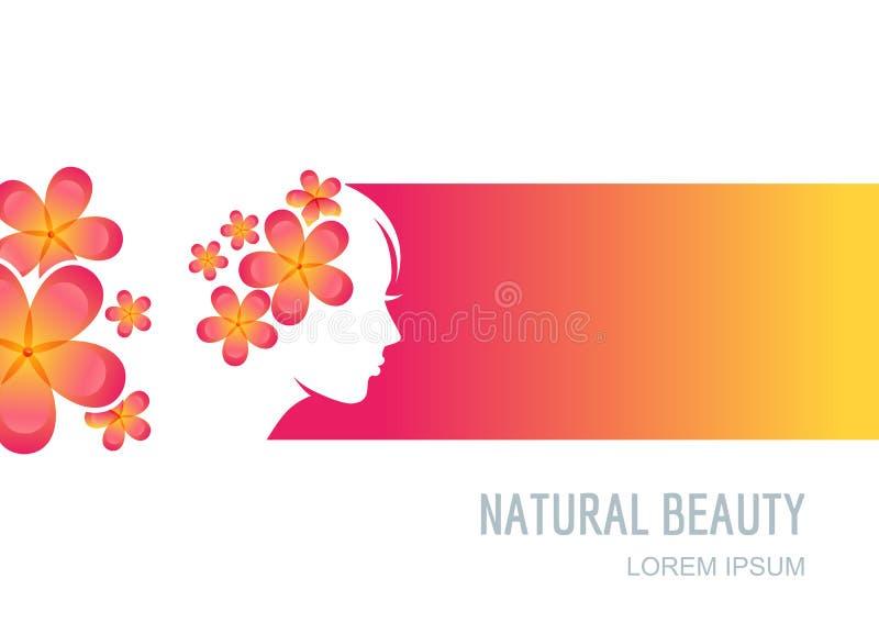 Vrouw met bloemen in haar Vrouwelijk gezicht op kleurrijke achtergrond royalty-vrije illustratie