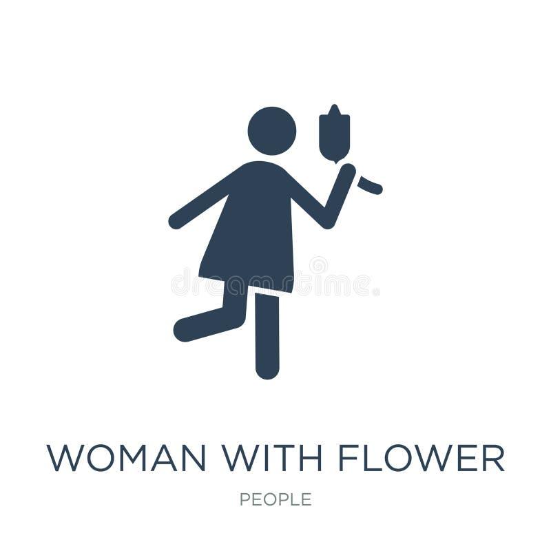 vrouw met bloempictogram in in ontwerpstijl vrouw met bloempictogram op witte achtergrond wordt geïsoleerd die vrouw met bloem ve royalty-vrije illustratie
