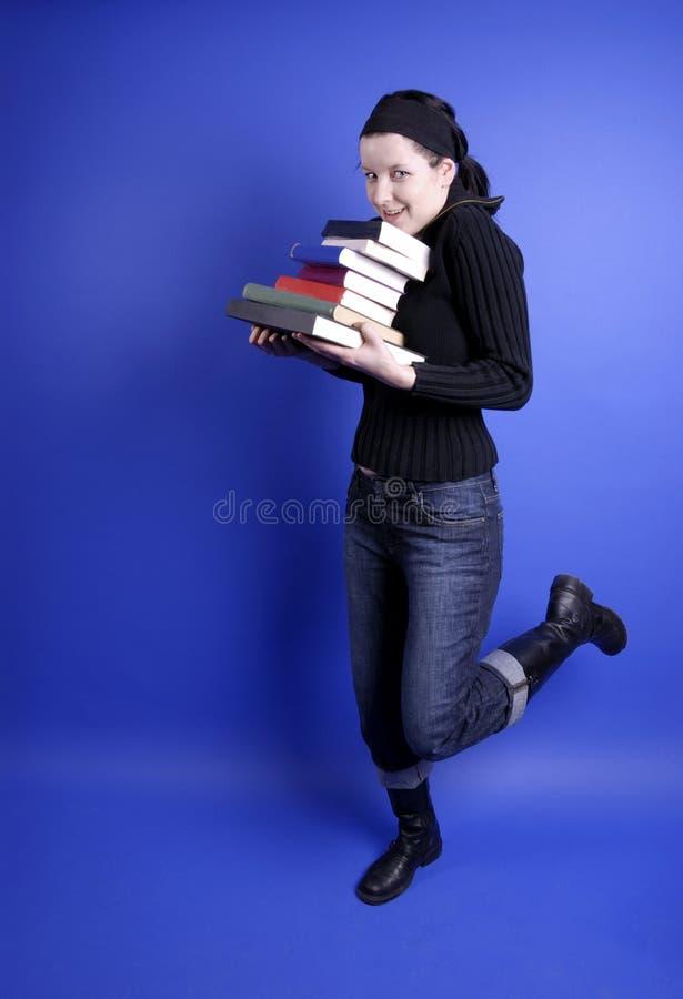 Vrouw met boeken royalty-vrije stock foto