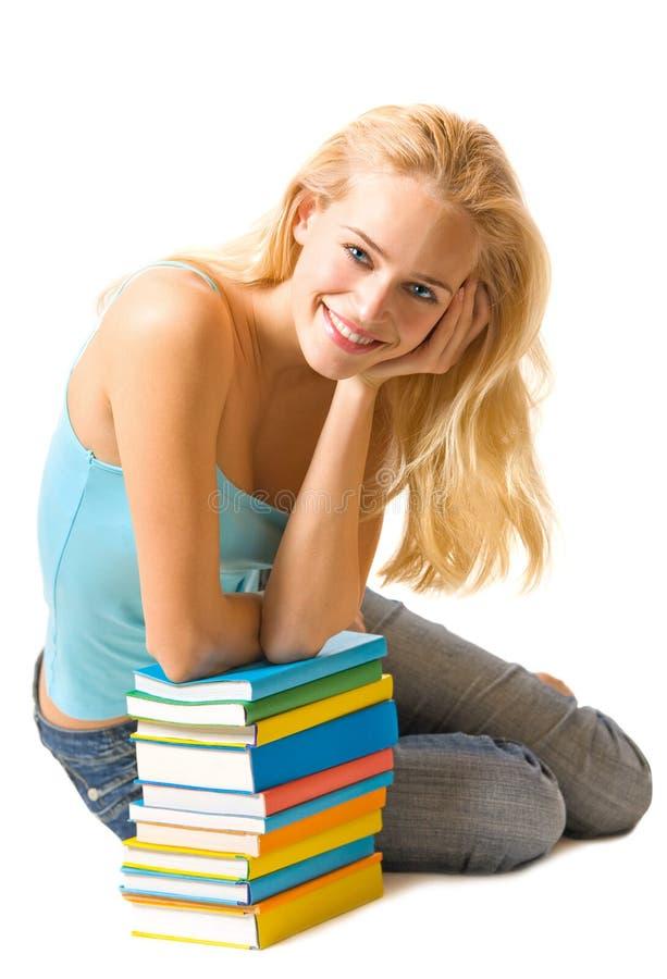 Vrouw met boeken royalty-vrije stock afbeelding