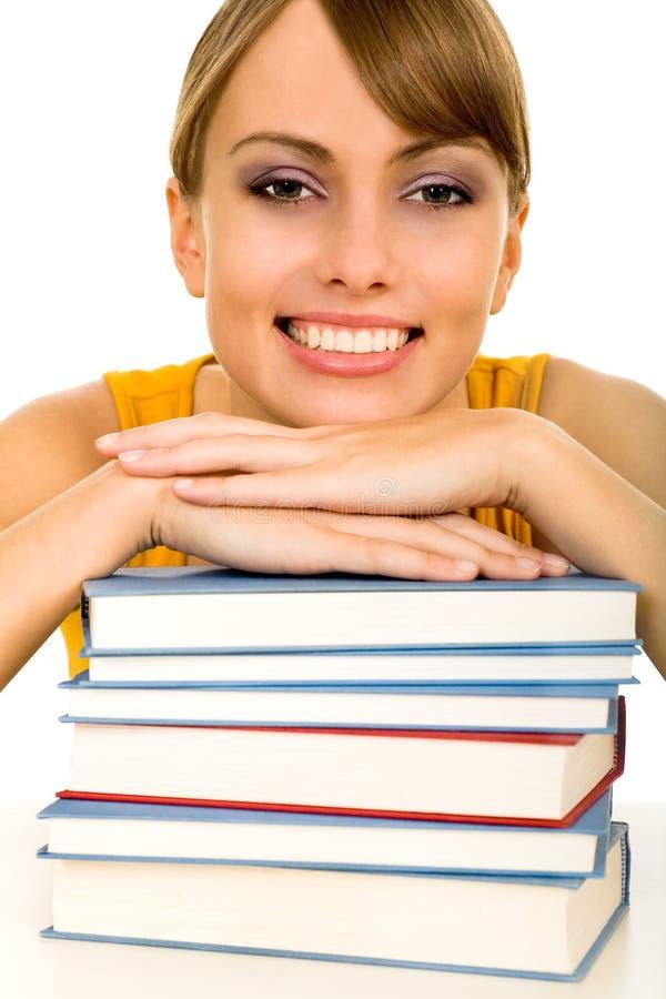 Vrouw met boeken stock fotografie