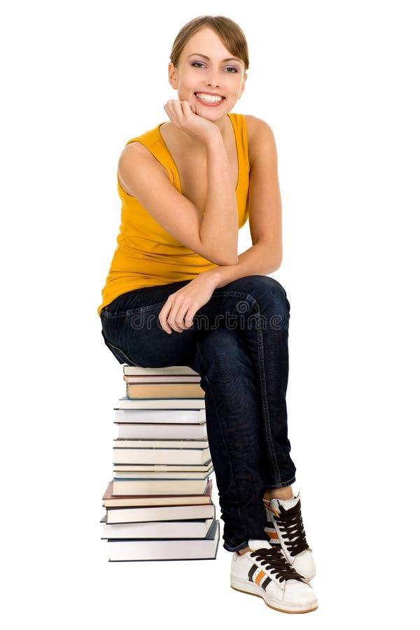 Vrouw met boeken stock afbeeldingen