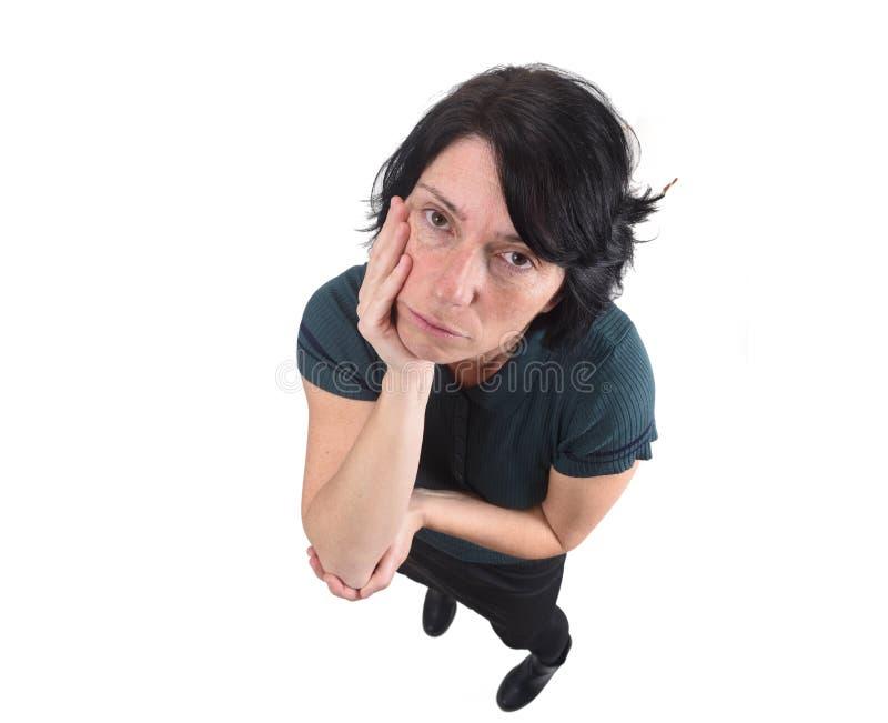 Vrouw met bored uitdrukking stock afbeeldingen