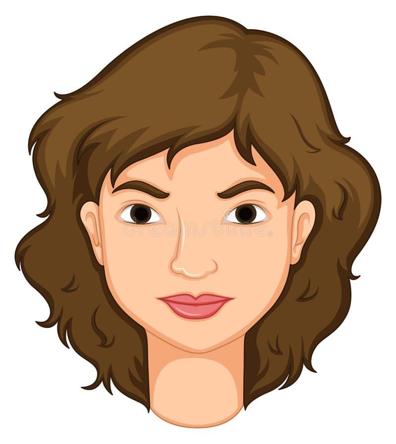 Vrouw met bruin haar stock illustratie