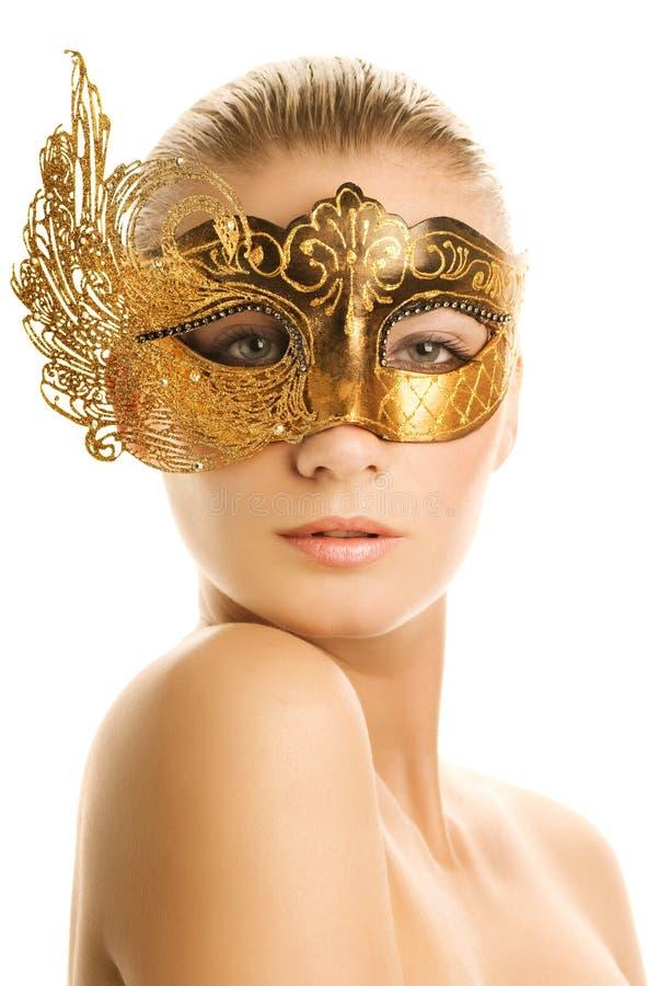 Vrouw met Carnaval masker royalty-vrije stock foto's
