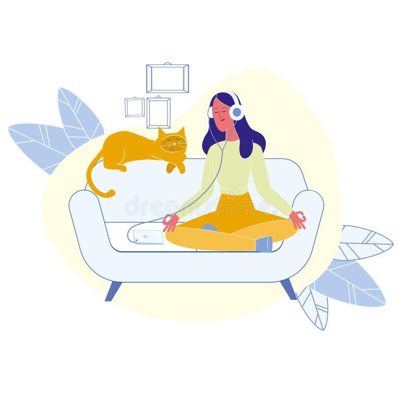 Vrouw met Cat Meditating Flat Vector Illustration stock illustratie