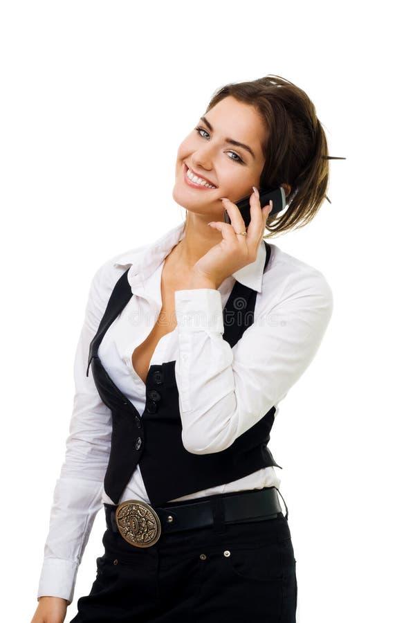 Vrouw met celtelefoon het glimlachen stock foto's