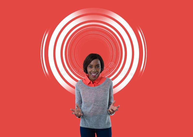 Vrouw met cirkelachtergrond stock foto