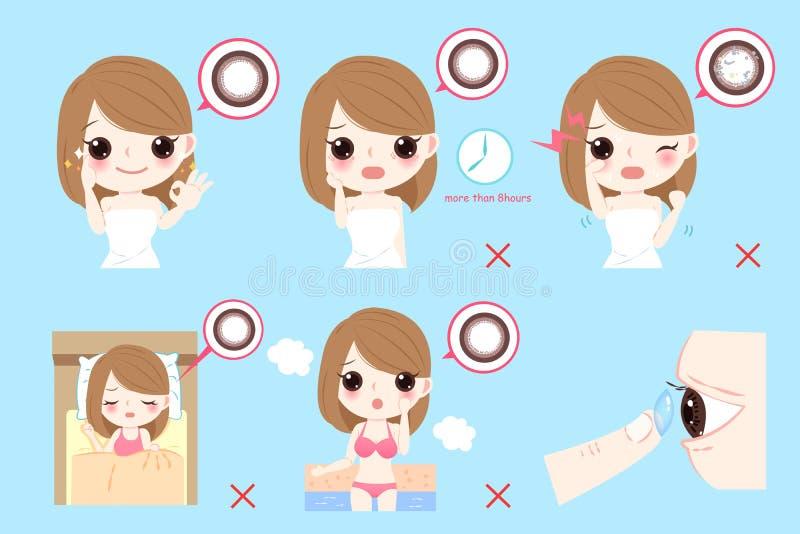 Vrouw met contactlenzen vector illustratie