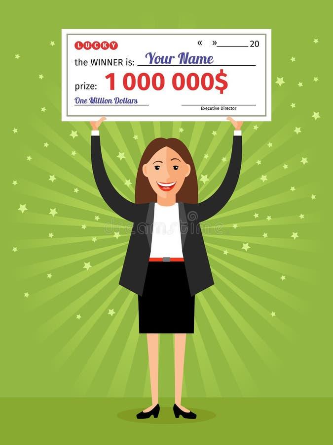Vrouw met controle voor één miljoen dollars in handen vector illustratie