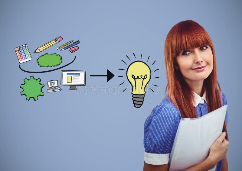 Vrouw met creatieve de tekeningenideeën van de ontwerpgrafiek stock illustratie