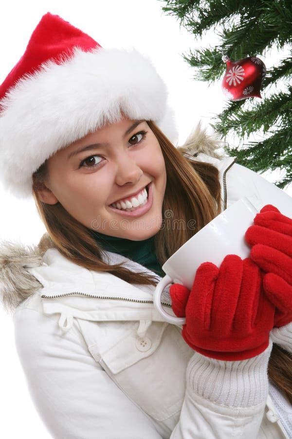Vrouw met de Koffie van Kerstmis stock afbeeldingen