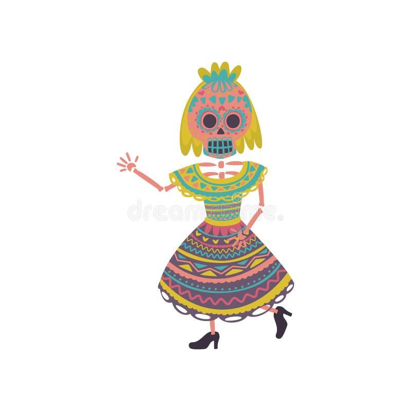 Vrouw met de make-up van de suikerschedel in een traditionele Mexicaanse vectorillustratie van het kledings dansende beeldverhaal stock illustratie