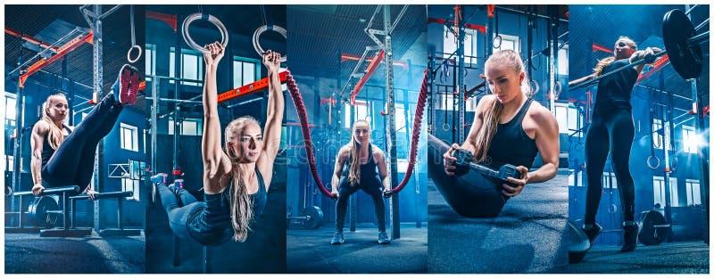 Vrouw met de oefening van de slagkabels van de slagkabel in de geschiktheidsgymnastiek royalty-vrije stock foto