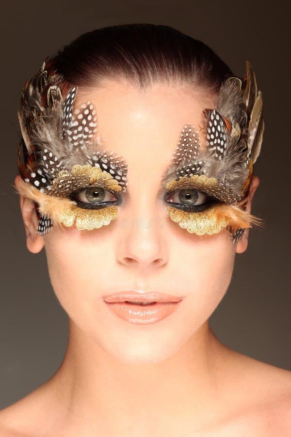 Vrouw met de ogen van een vogel royalty-vrije stock afbeeldingen