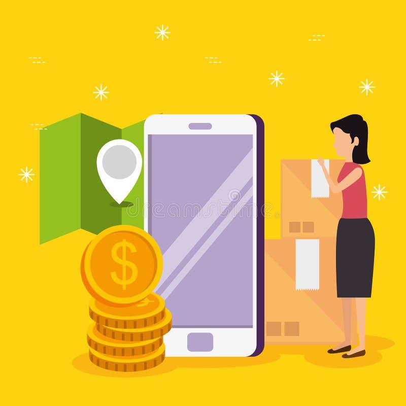 Vrouw met de technologie en de plaats van de smartphoneelektronische handel vector illustratie