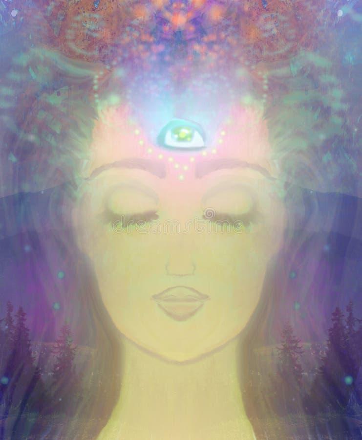Vrouw met derde oog vector illustratie