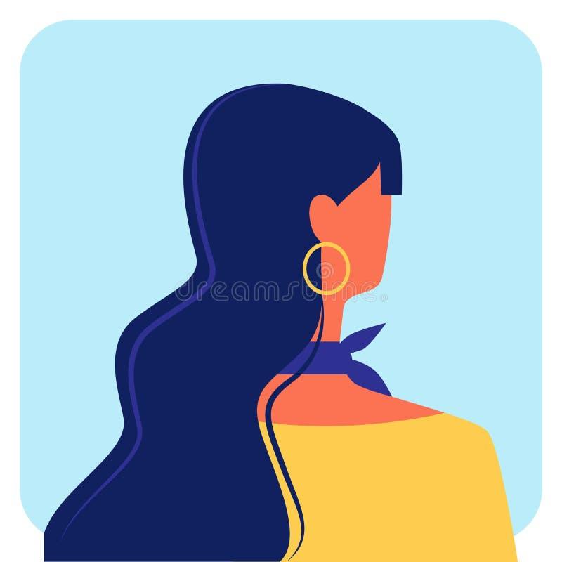 Vrouw met Donker Lang Haar in Gele Blouse Vector stock illustratie