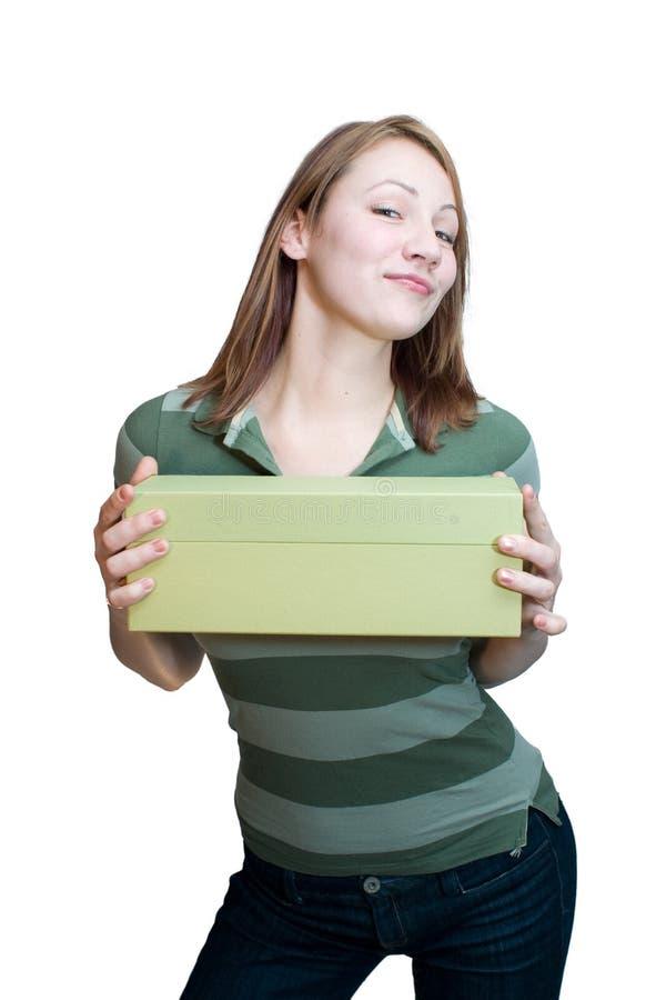 Vrouw met doos 2 royalty-vrije stock afbeeldingen