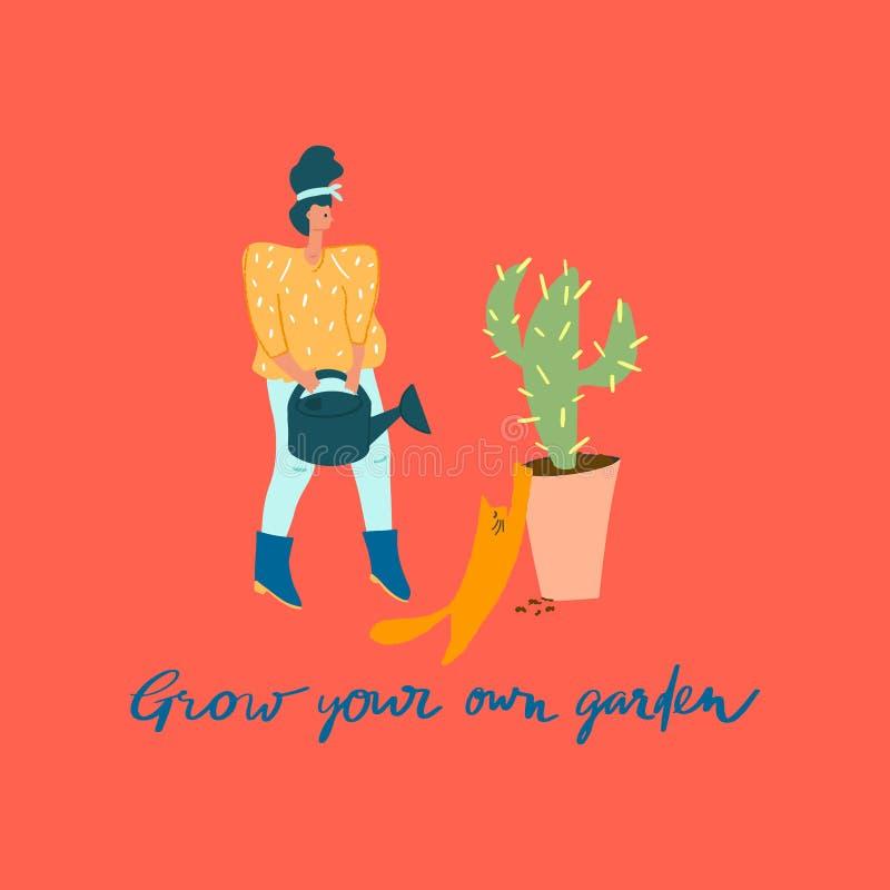 Vrouw met drenkblik, cactus in pot en kat Freehand-prijsopgave stock illustratie