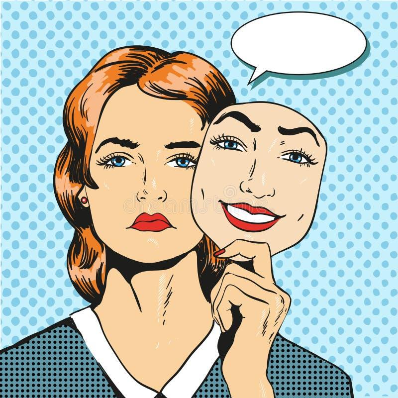 Vrouw met droevige ongelukkige het masker valse glimlach van de gezichtsholding Vectorillustratie in grappige retro pop-artstijl stock illustratie