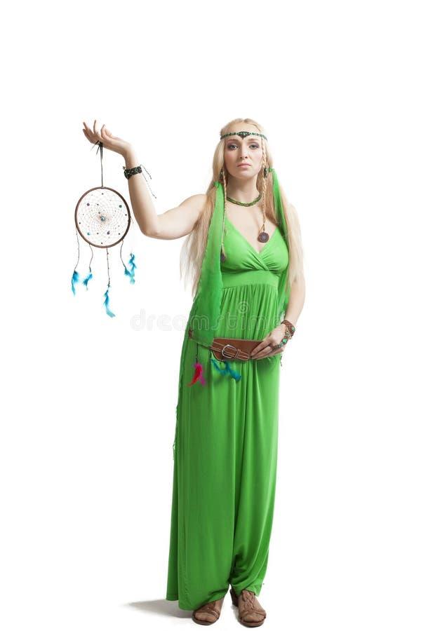 Vrouw met droomvanger stock fotografie