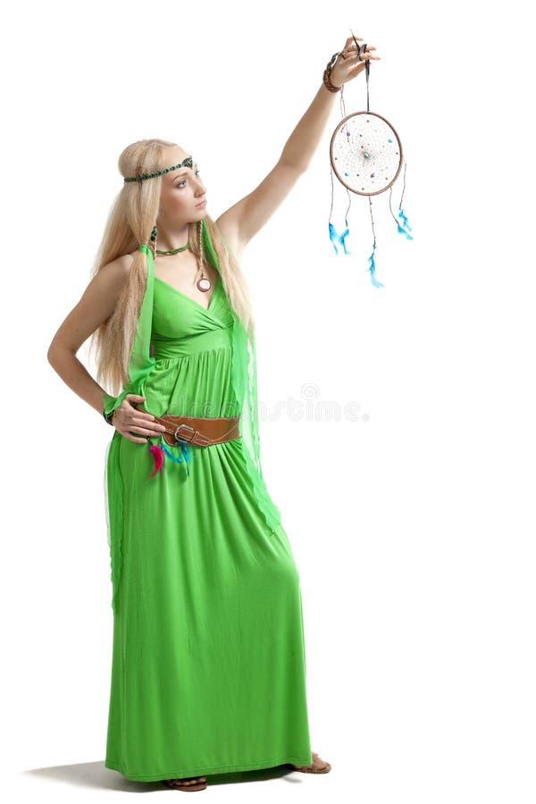 Vrouw met droomvanger stock afbeelding